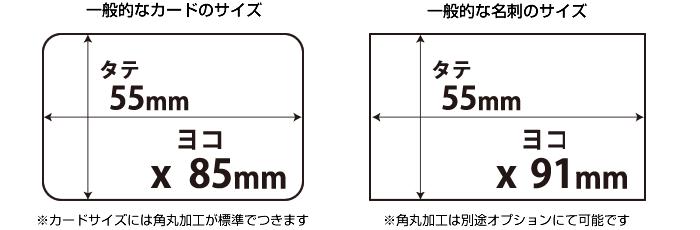 一般的なカードのサイズと一般的な名刺のサイズ